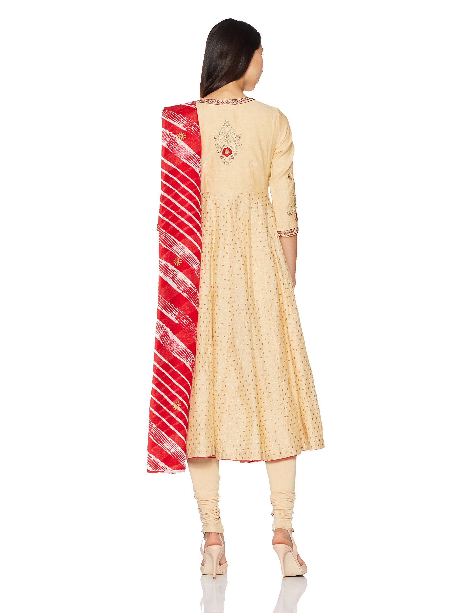 BIBA Women's Anarkali Poly Cotton Suit Set 32 Beige by Biba (Image #2)