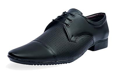 AXONZA Men s Black 205 Lezer Derby Faux Leather Office Party Wear ... 584cbaa4c15