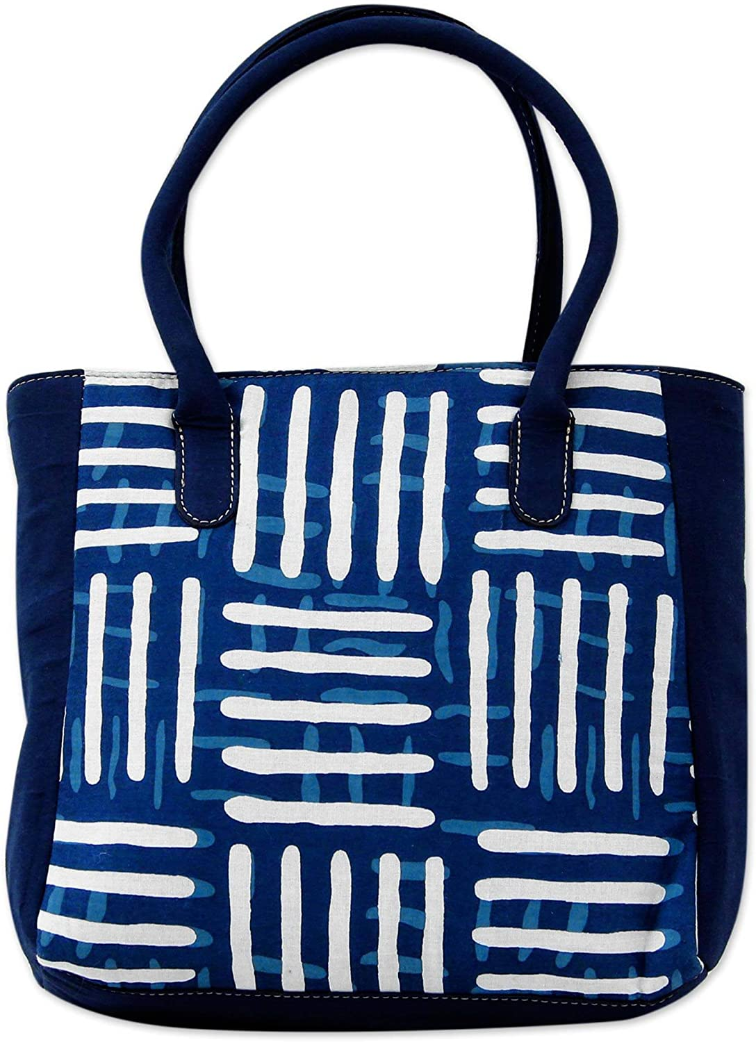 NOVICA Blue 100/% Cotton Tote Bag Blue Directions