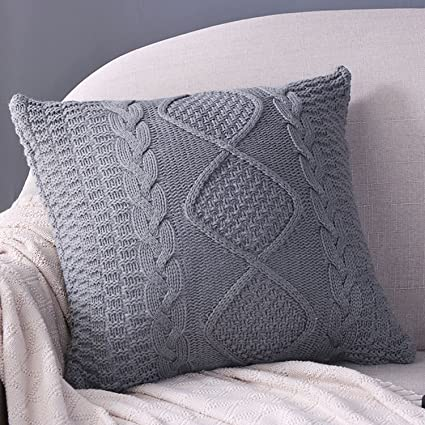 Amazon Sanifer Cable Knit Pillow Covers 40x40 Decorative Pillow Gorgeous How To Knit Pillow Covers