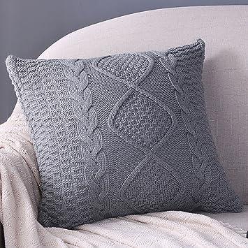 Amazon Sanifer Cable Knit Pillow Covers 18x18 Decorative Pillow