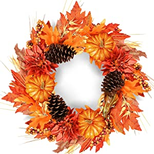 Rocinha Fall Wreath 20 in Autumn Front Door Wreath with Pumpkins Pinecone Berries Maple Leaf, Artificial Fall Wreath for Front Door Thanksgiving Halloween Decorations Home Decor
