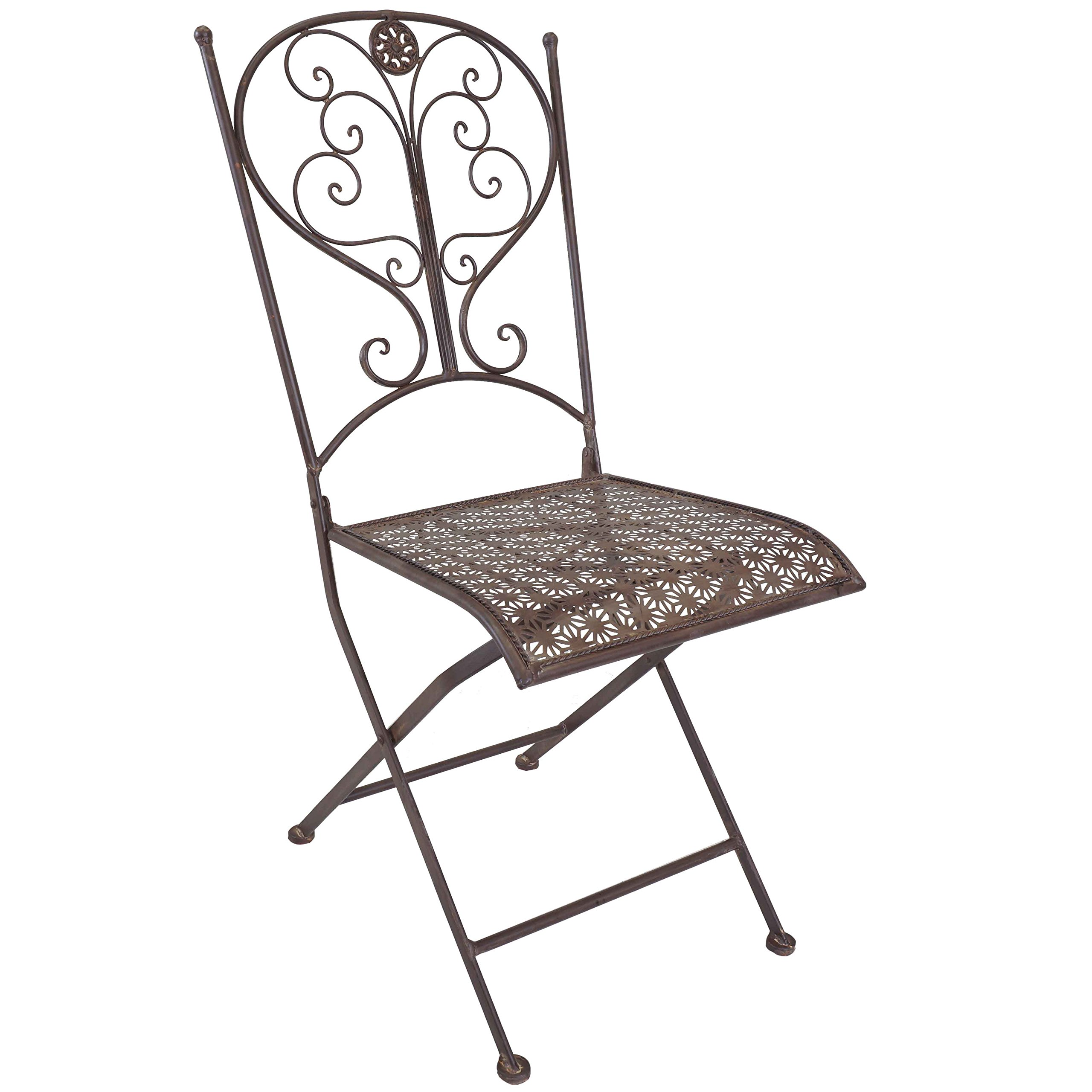 Titan Outdoor Antique Steel Folding Chair Porch Patio Garden Deck Decor Rust Rustic