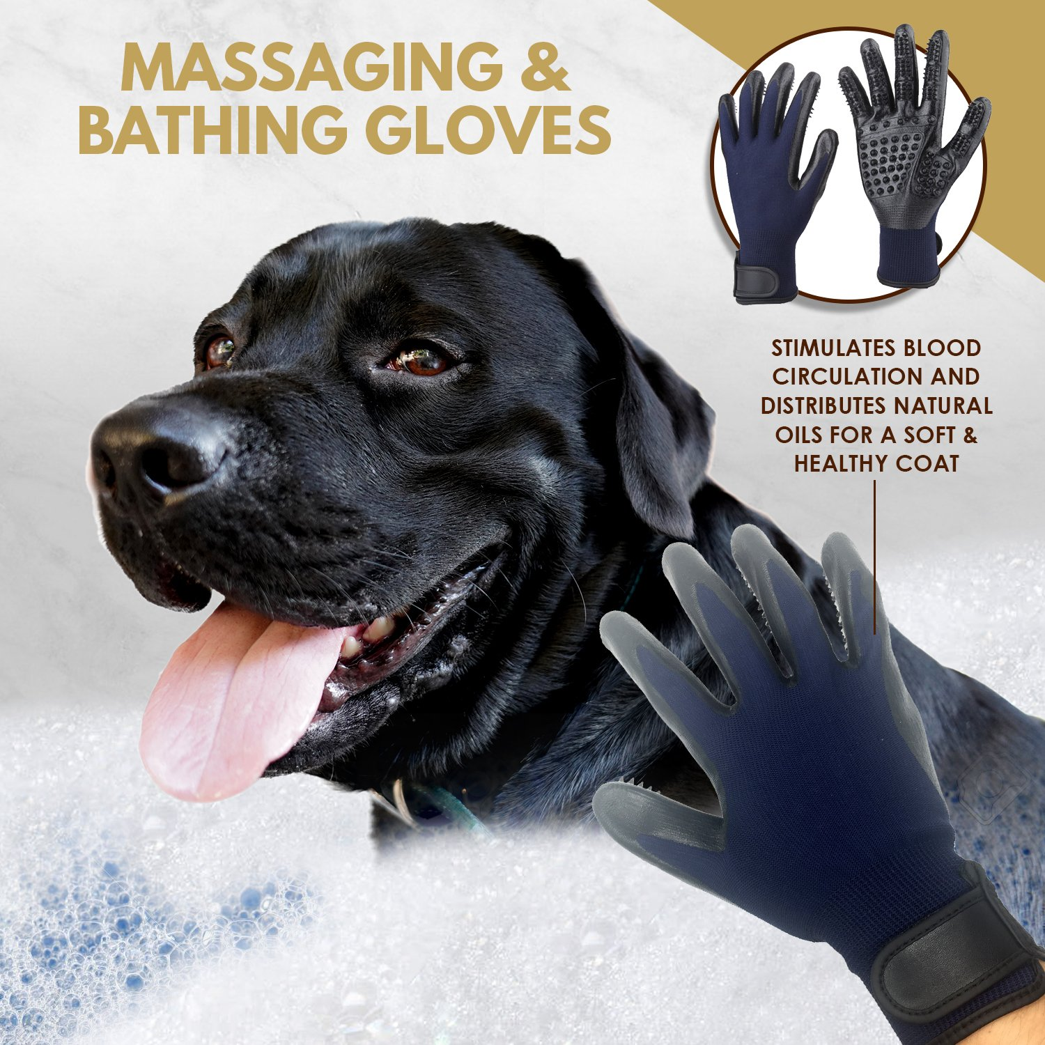 3 in 1 Pet Grooming Set,Self Cleaning Slicker Brush,Pet Comb and 1 Pair Pet grooming Gloves-Right & Left Hands,Anti Shedding Pet Hair Remover for Dogs & Cats,Deshedding Fur,Long & Short Hair,Undercoat by SOUL MUTT VAVA (Image #3)