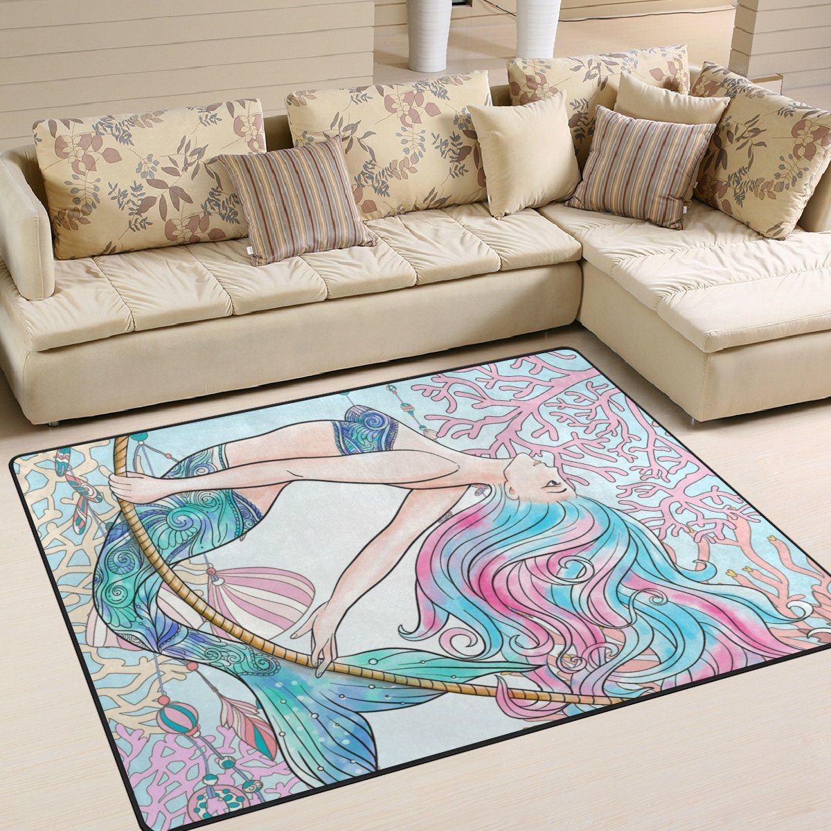ALAZA Beautiful Mermaid with Gold Fish in Underwater World Kids Area Rug,Cute Mermaid Non-Slip Floor Mat Soft Resting Area Doormats for Living Dining Bedroom 5 x 7
