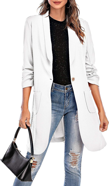 Aladuo Women Blazer Open Front Cardigan 3/4 Sleeve Fall Outfits Jacket Work Office Blazer