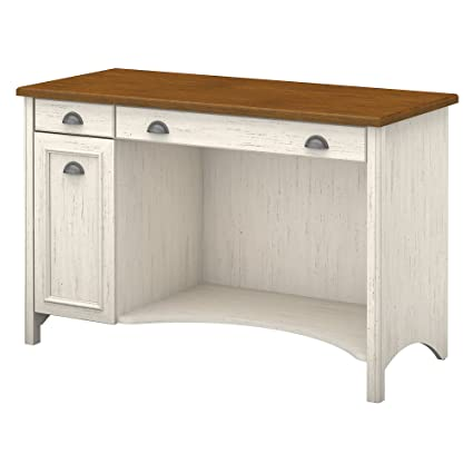 Bush Furniture Stanford Computer Desk with Drawers in Antique White and Tea  Maple - Amazon.com: Bush Furniture Stanford Computer Desk With Drawers In