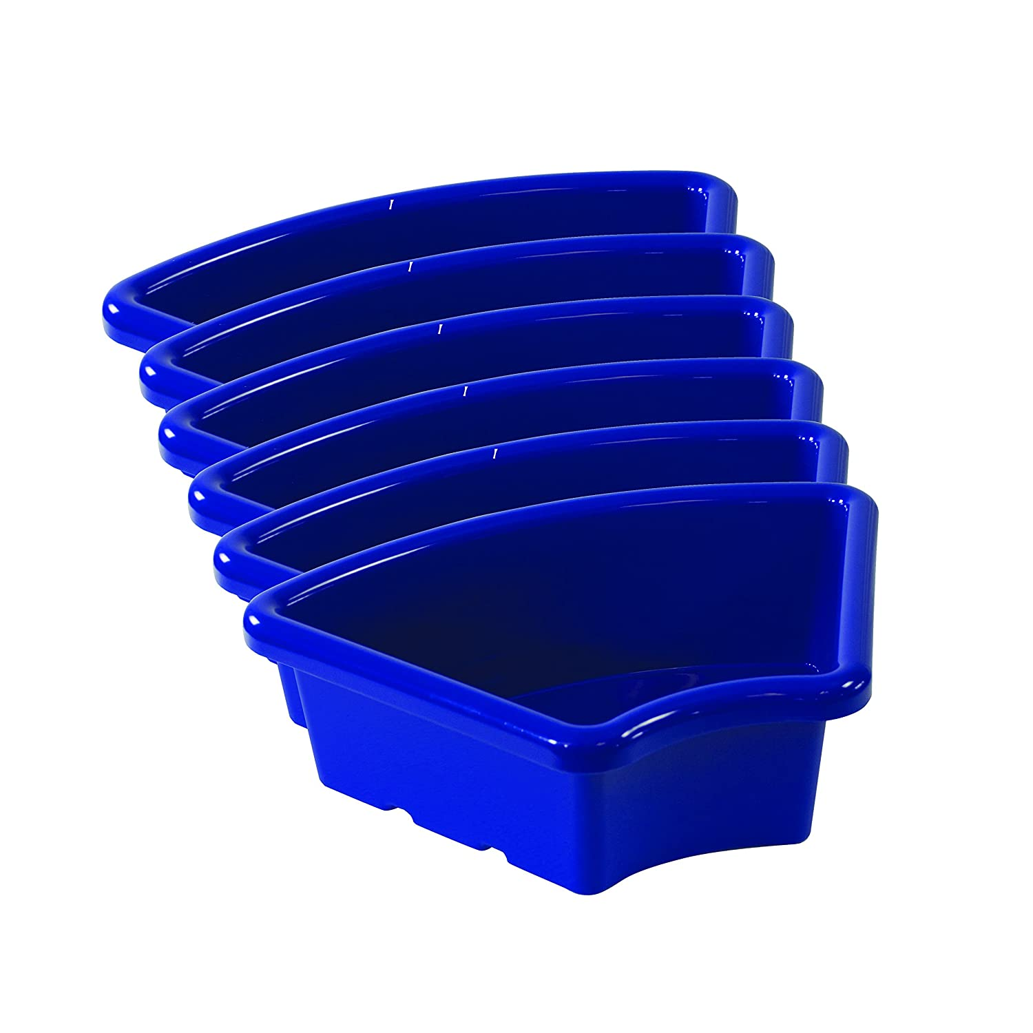 ECR4Kids Fan Shaped Storage Tray, Blue (6-Pack)
