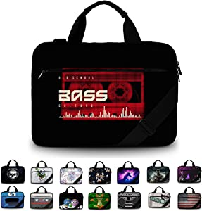 """Funky Planet 17"""" 17.3"""" inch Shoulder Laptop Messenger Solid Strong Canvas Sleeve Case Bag Briefcases Compatible with Many Computer Tablet (Canvas Bass)"""