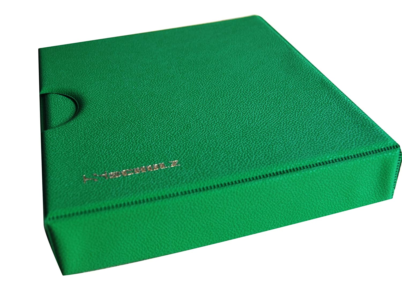 Schulz - album portamonete con custodia, per 221 monete di diversi tipi, da piccole a grandi, con pagine e divisori rossi + indice, colore: verde
