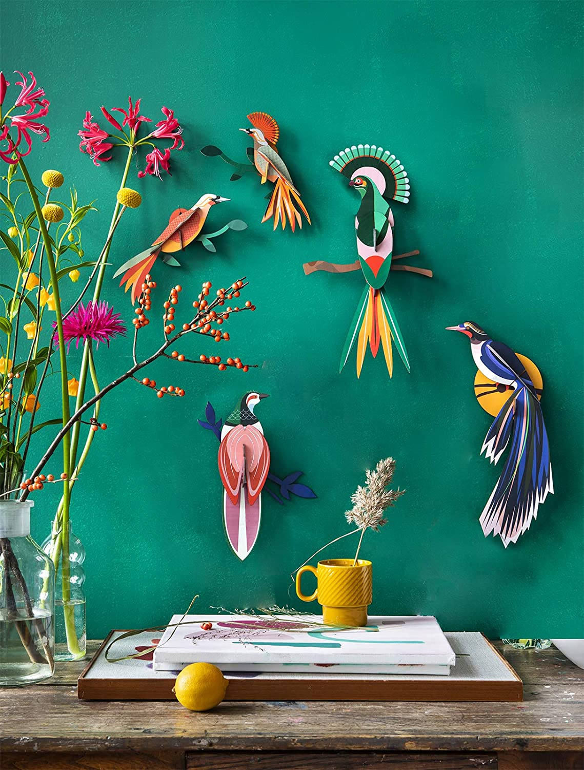 Flores Eco Friendly Unique Wall Decoration Bird Of Paradise Joizi Wall Art From Recycled Cardboard Artwork Sculptures