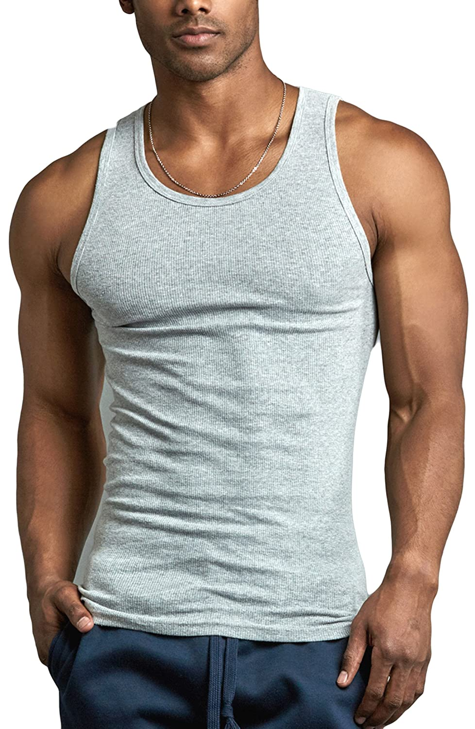 ToBeInStyle Men's Pack of Fine Ribbed 100% Cotton Scoop Neck Sleeveless Tanks tru11o_ptap0o