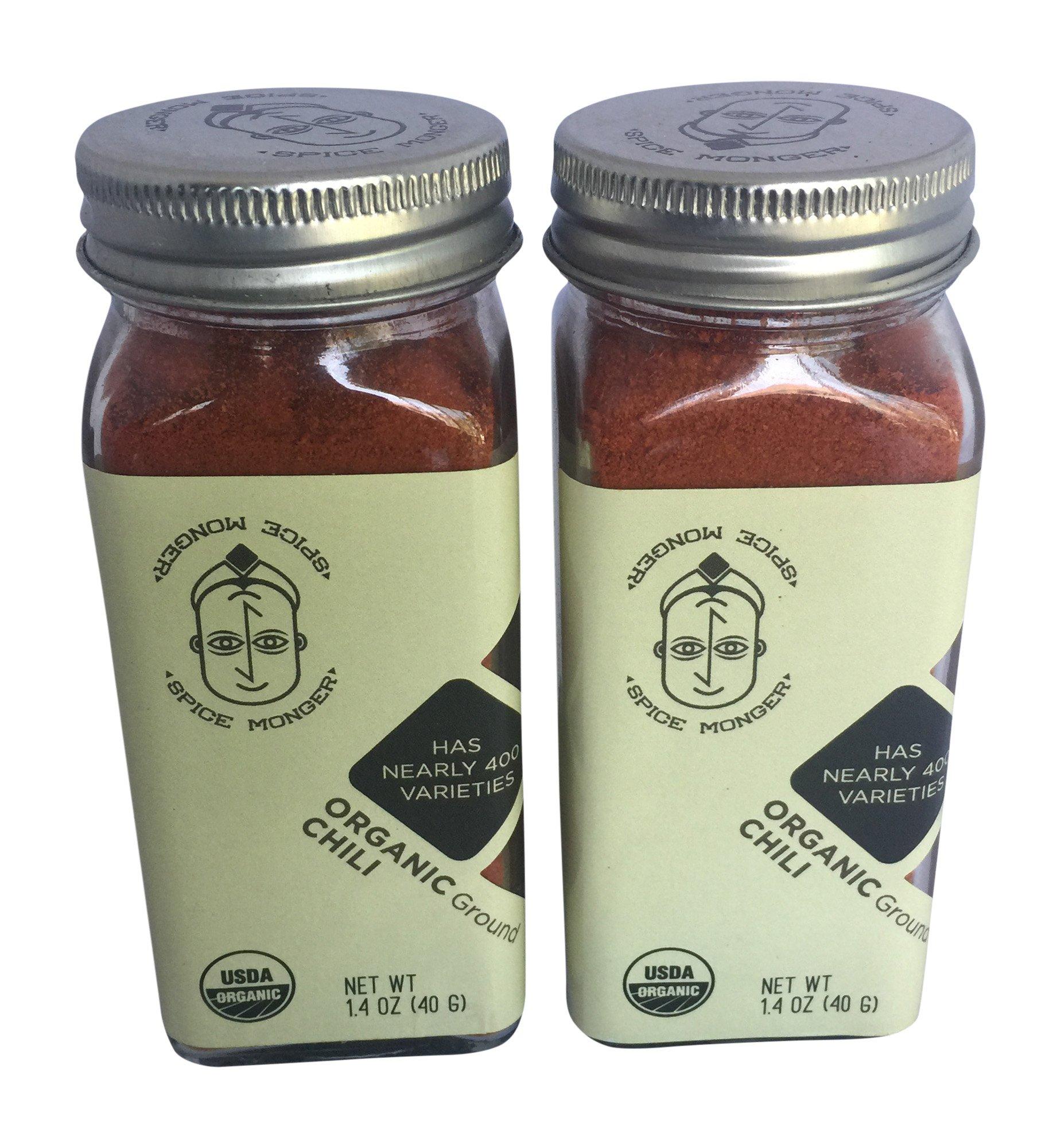 Spice Monger Organic Chili Powder 1.4OZ (Pack of 2) USDA Certified, All Naturals fresh from Malabar coast, Kosher certified
