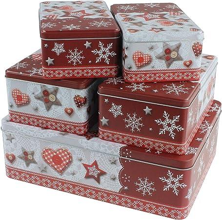 macosa eb400696 Juego de 5 Cajas rectangulares para Galletas, Metal, Lata de Galletas apilable, Bote   Galletas Tarro   Caja de Regalo   Lata: Amazon.es: Hogar