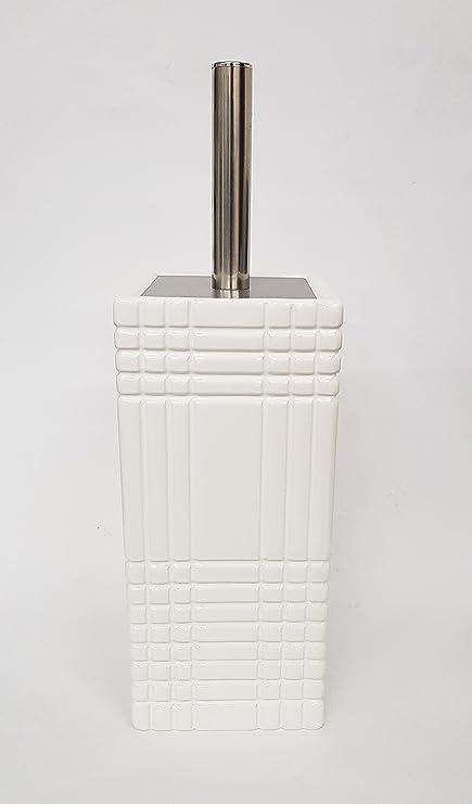 takestop/® PORTASCOPINO in Ceramica Bianco Strisce Quadri ESY/_035 Porta SCOPINO Spazzola SCOPETTINO da Bagno WC IGIENIZZATO Pulito