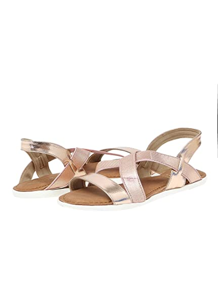 225598e3844 ROSE GOLD CROSS STRAP SANDALS  Buy Online at Low Prices in India - Amazon.in