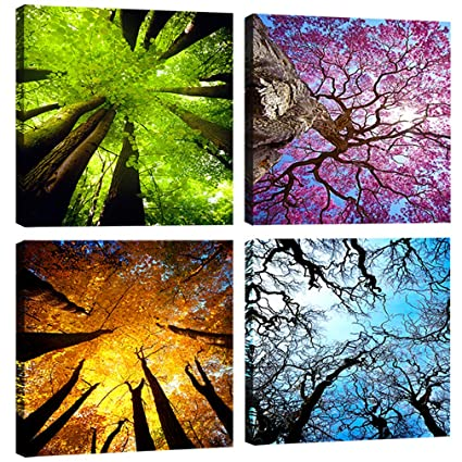 Moco Art 4 Panels Canvas Wall Art Spring Summer Autumn Winter Four Seasons Landscape Color Tree Painting Picture Prints Modern Giclee Artwork