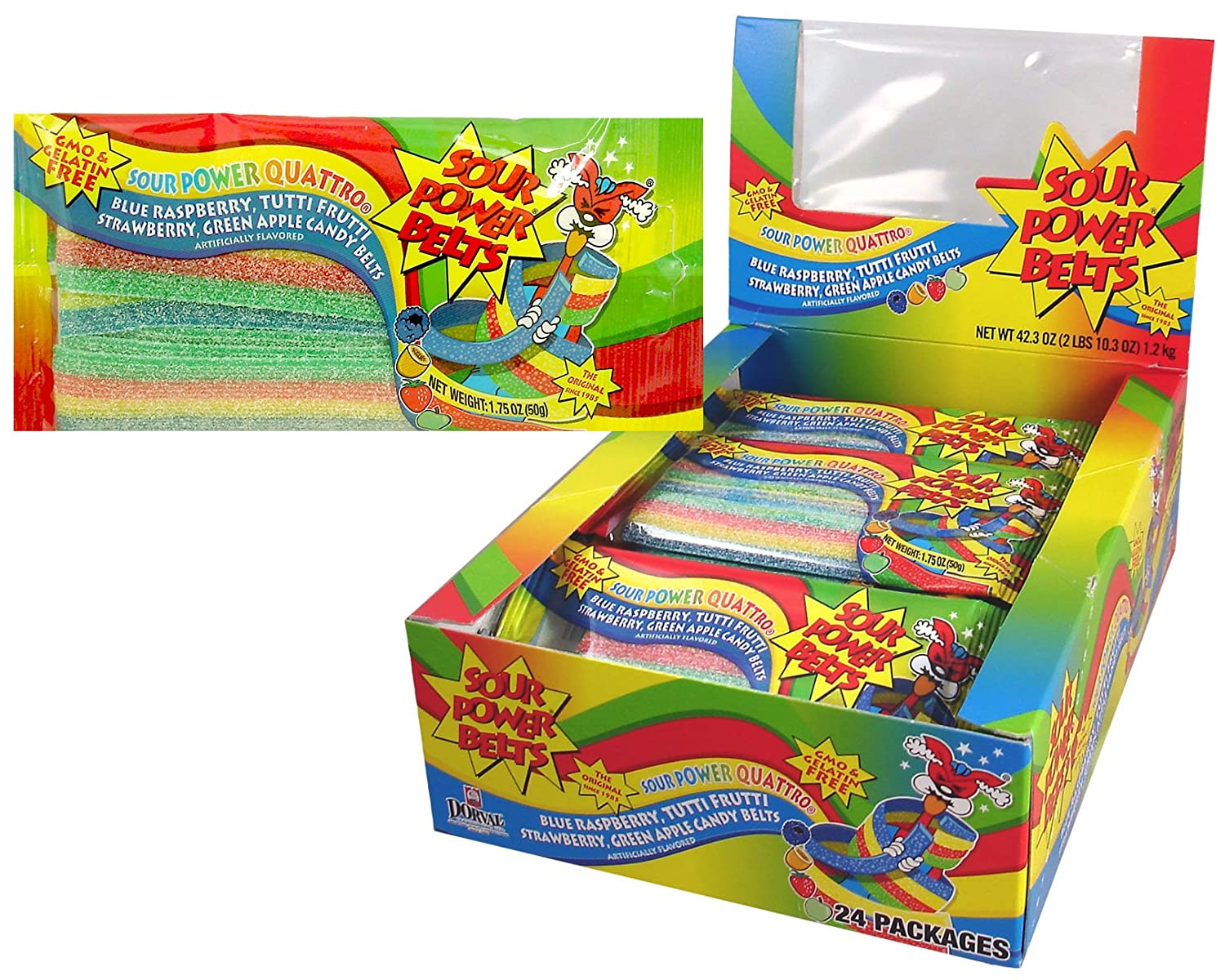 Sour Power Belt Candy Packages, Quattro, 42.3 Ounce