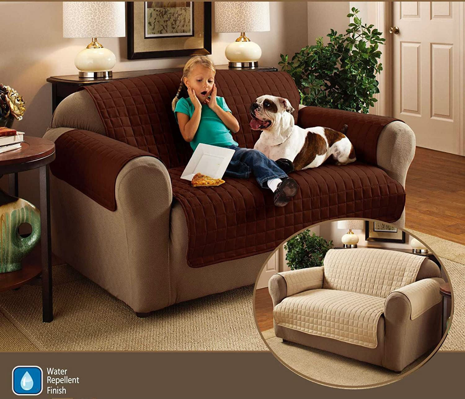 "3 Seater Sofa Protector Chocolate Brown 68"" x 70 5"" Water"