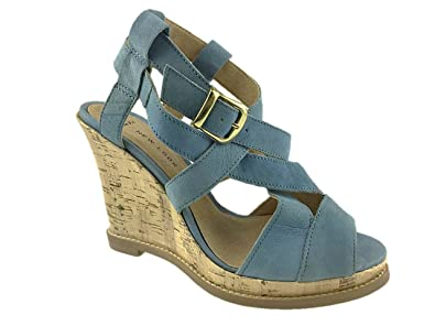 466d407d3766 Image Unavailable. Image not available for. Colour  NEW LOOK LADIES LEATHER  STRAPPY WIDE FIT WEDGE SANDALS SIZE ...