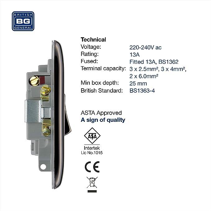 BG électrique NAB50 13 A Métal Laiton Antique Fused Connection Spur Unité Interrupteur
