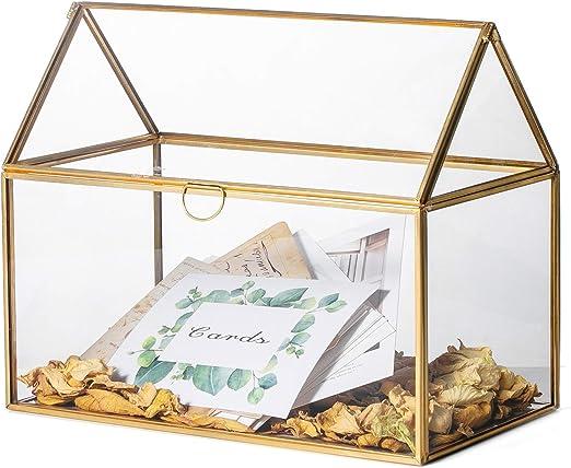 NCYP Caja de cristal geométrico grande, organizador de tarjetas de terrario, centro de mesa, decoración de