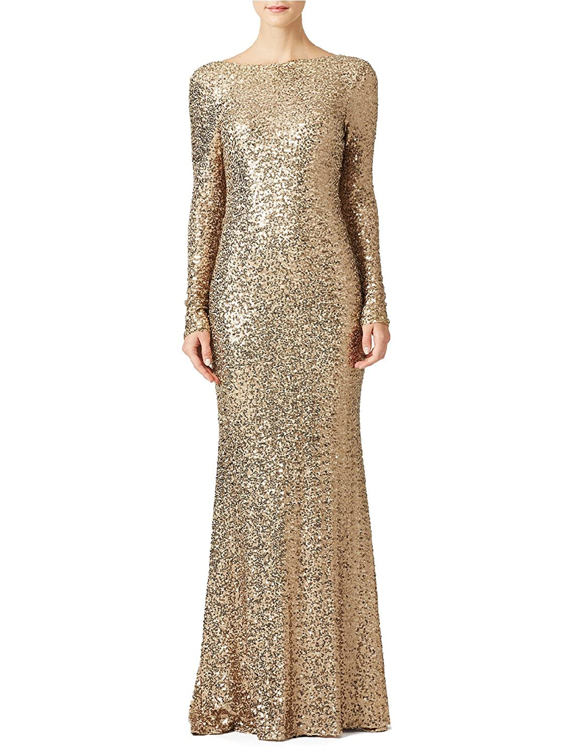 JoJoBridal Womens Sequined Long Evening Formal Dresses with Sleeves M016