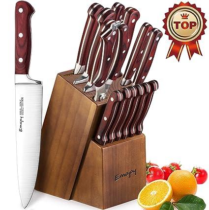 Emojoy Cuchillos Cocina, Juegos de Cuchillos de Acero Inoxidable, Incluye 15 Cuchillos de Cocina (Plata)