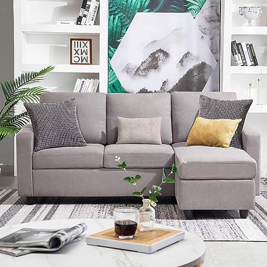 Amazon Com Honbay Convertible Sectional Sofa Couch Modern Linen
