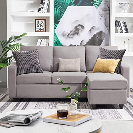 Prime Honbay Convertible Sectional Sofa Couch Modern Linen Fabric L Shape Couch For Small Space Grey Gainsboro Dailytribune Chair Design For Home Dailytribuneorg