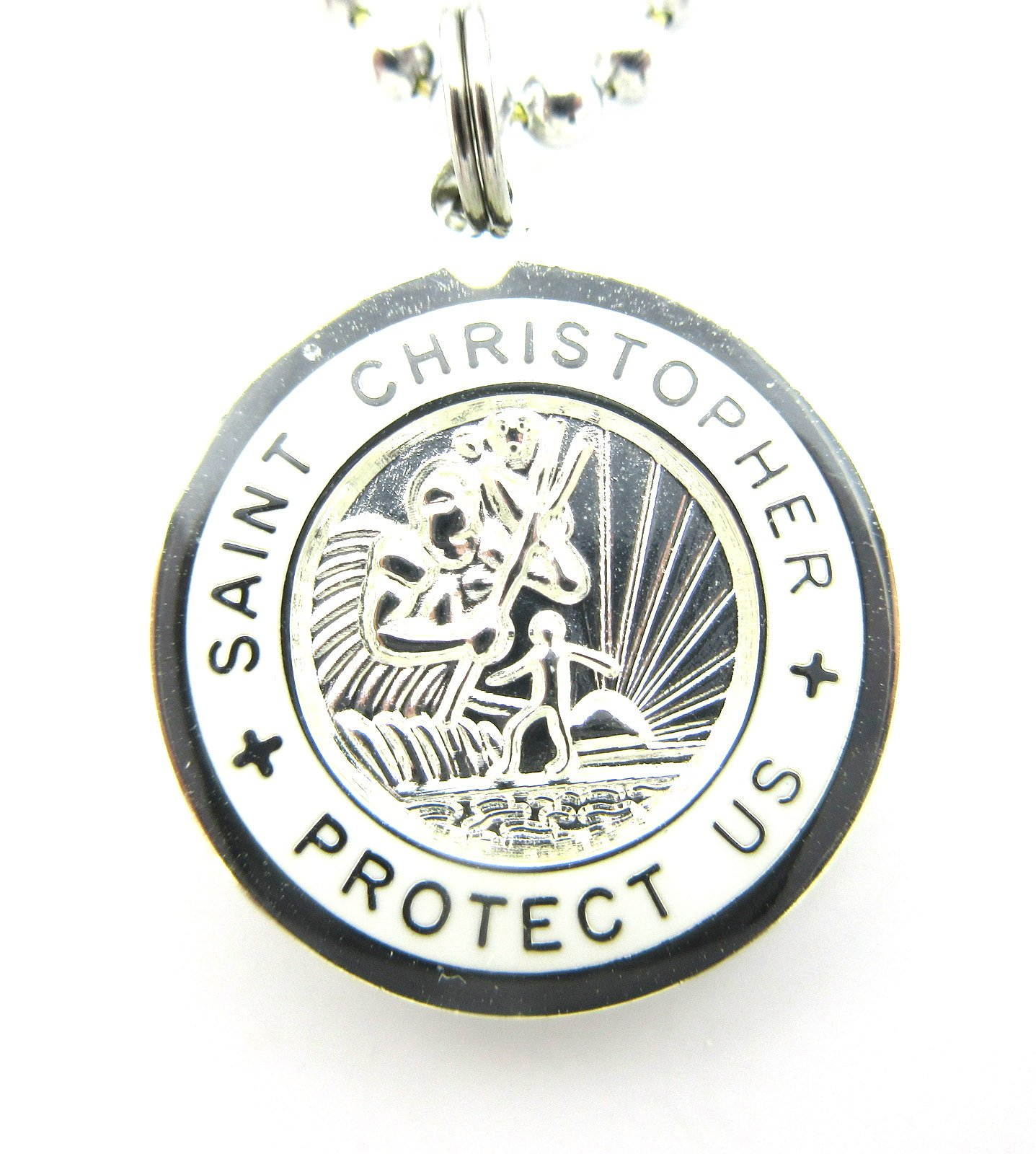 Saint Christopher Surf Medal Pendant Necklace,Silver/White SV/WH Medium