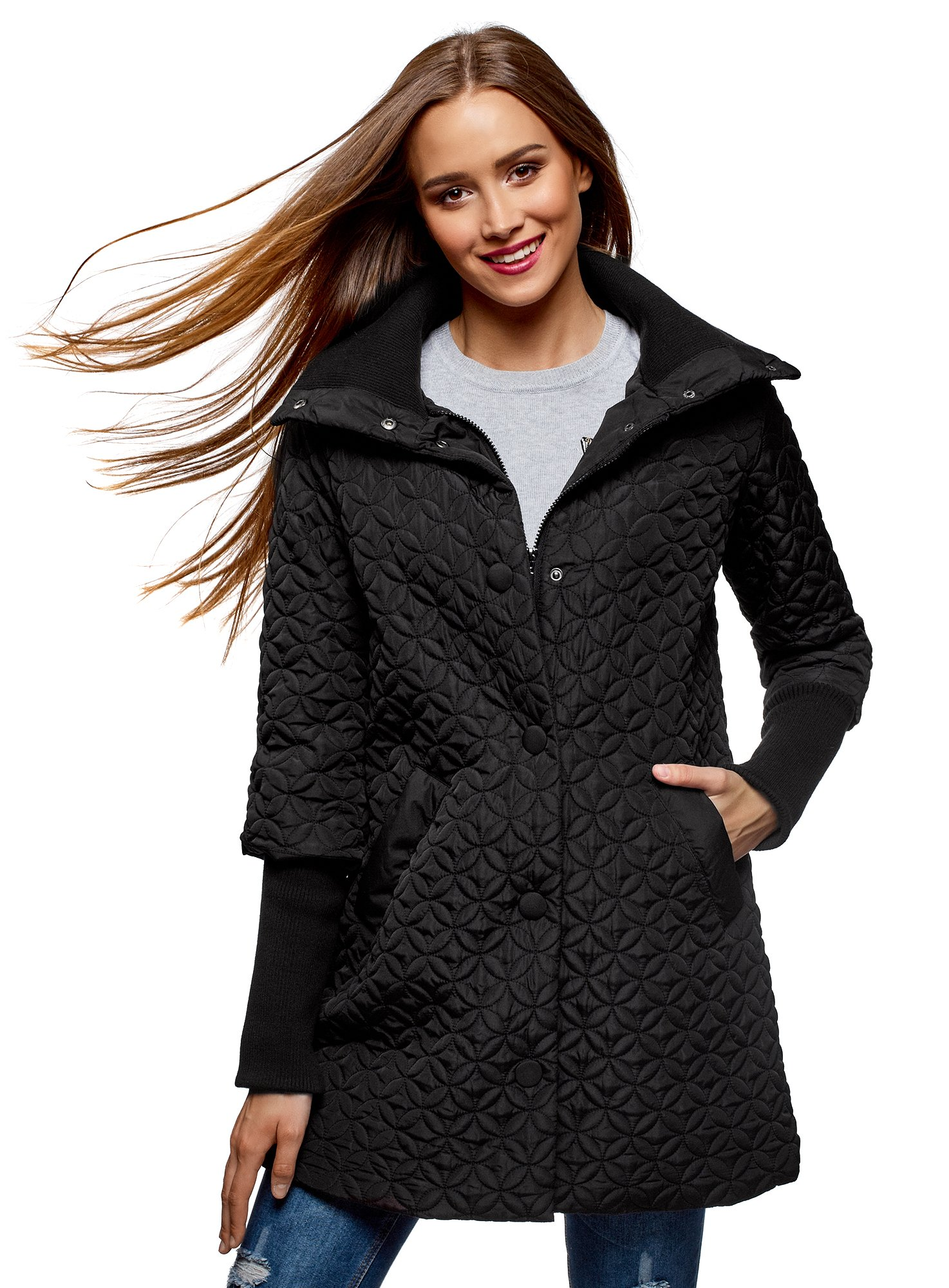 oodji Collection Women's Quilted Stand Collar Coat, Black, 12