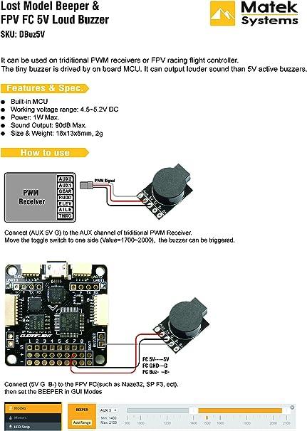 5 V active Buzzer Alarme Beeper Lost Modèle Alarme Drone Racing Quads Heli