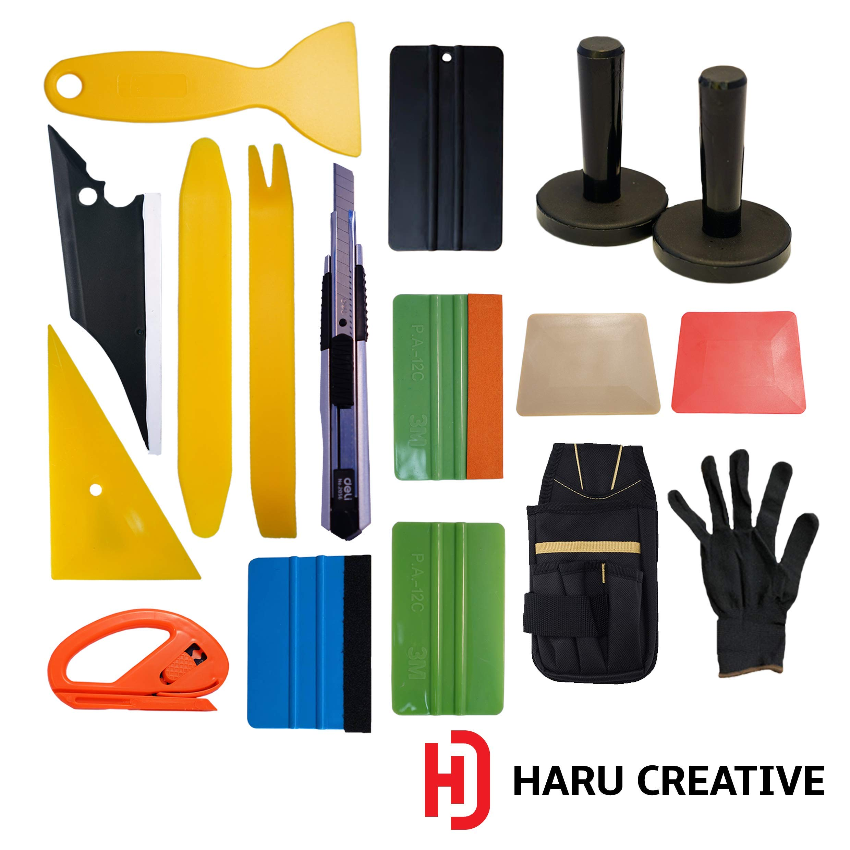 Haru Creative - Automotive Car Tool Kit for Car Vinyl Wrapping Window Tinting Installation - Felt Edge Squeegee Razor Knife - Large Kit