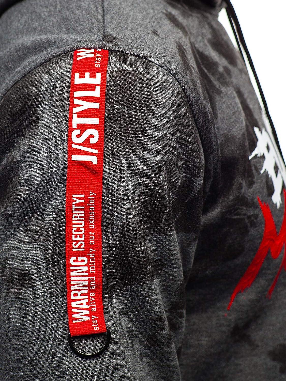 1A1 BOLF Hombre Sudadera con Impresi/ón Capucha Hoodie Bolsillo Canguro Estilo Casual J.Style DD210 Grafito L