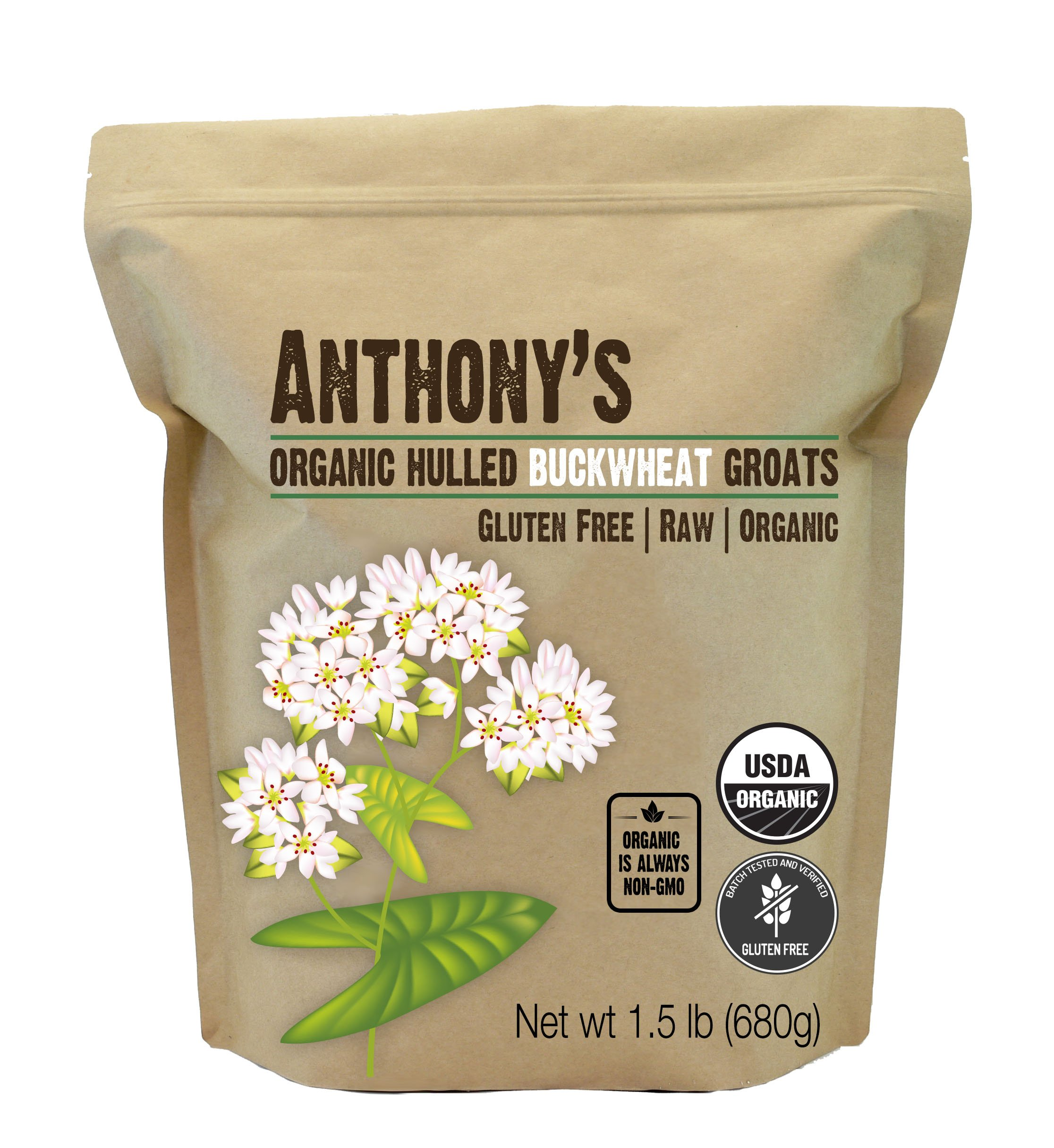 Anthony's Organic Hulled Buckwheat Groats (1.5lb), Raw, Grown in USA, Gluten-Free by Anthony's (Image #4)