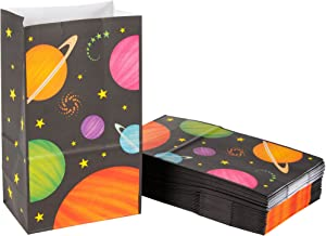 Party Treat Bags - 36-Pack Gift Bags, Outer Space Party Supplies, Paper Favor Bags, Recyclable Goodie Bags for Kids, Planets Design, 5.2 x 8.7 x 3.3 Inches