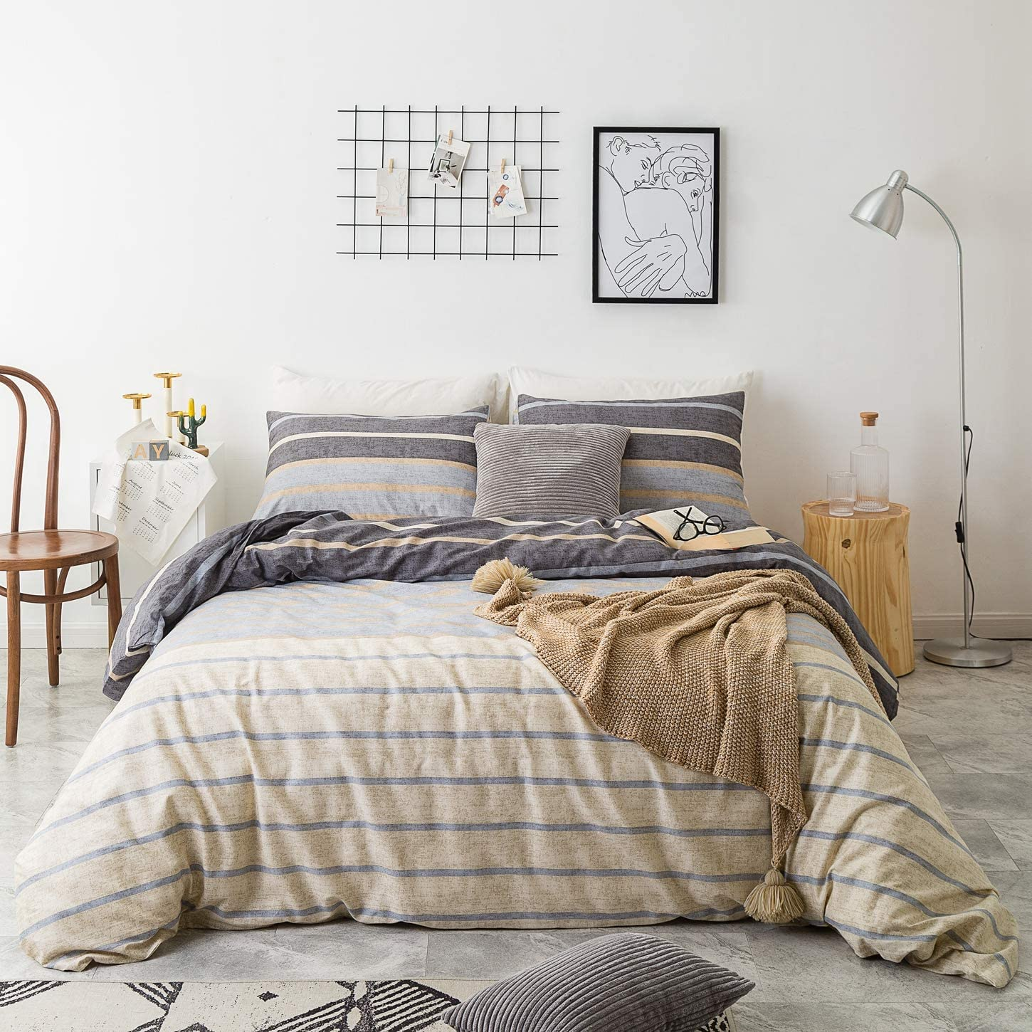 SUSYBAO 3 Piece Duvet Cover Set 100% Natural Cotton King Size Khaki Stirped Bedding Set 1 Reversible Gray Stripes Duvet Cover with Zipper Ties 2 Pillowcases Luxury Quality Soft Comfortable Durable
