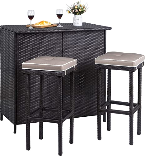 Tangkula Patio Bar Set, 3 Piece Outdoor Rattan Wicker Bar Set with 2 Cushions Stools Glass Top Table, Outdoor Furniture Set for Patios, Backyards, Porches, Gardens or Poolside Brown