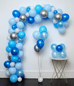 Blue and Sliver Latex Metallic Pearlescent Balloon 110 Pcs 12in Arch & Garland Kit,Decorating Strip+Tying Tools+Glue Dots+Flower Clips+Silver Ribbons,boy Baby Shower, Party Decorations