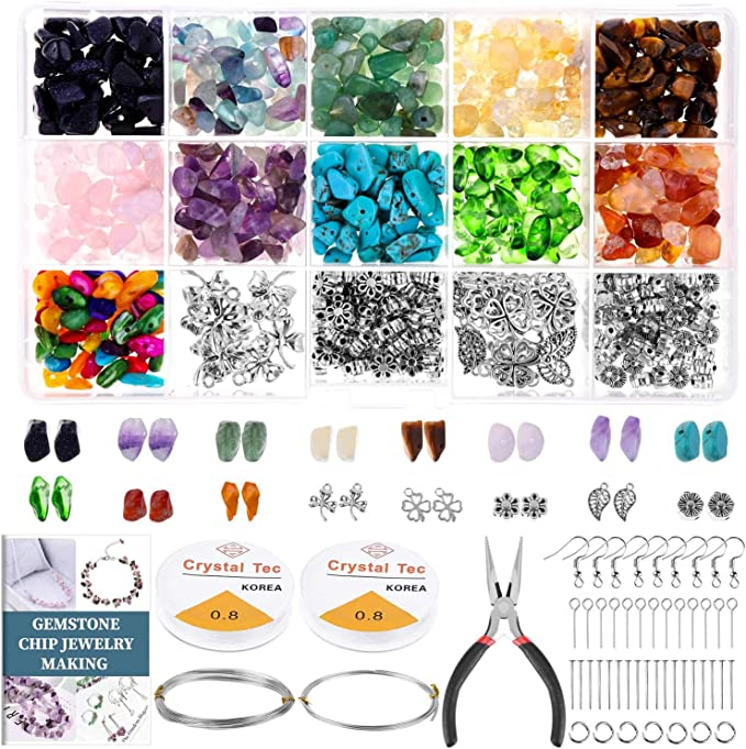 Amazon.com: Paxcoo 1046Pcs Crystal Chip Beads and Jewelry Making Gemstones Kit for Jewelry Earring Necklace and Bracelets Making Supplies: Arts, Crafts & Sewing