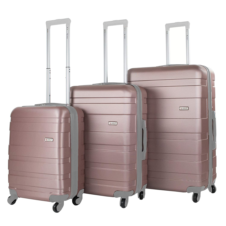 faf01c57c Amazon.com   AMKA Verano Hardside 3-Piece Expandable Spinner Upright  Luggage Set, Rose Gold   Luggage Sets
