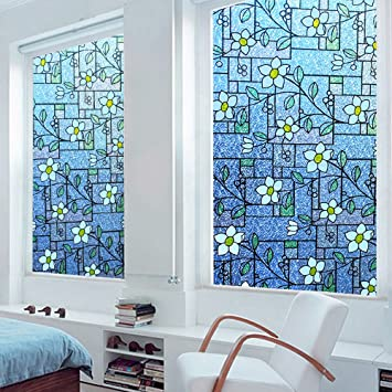 Amazoncom DuoFire Stained Privacy Glass Film Nonadhesive Static - Stained glass window stickers amazon