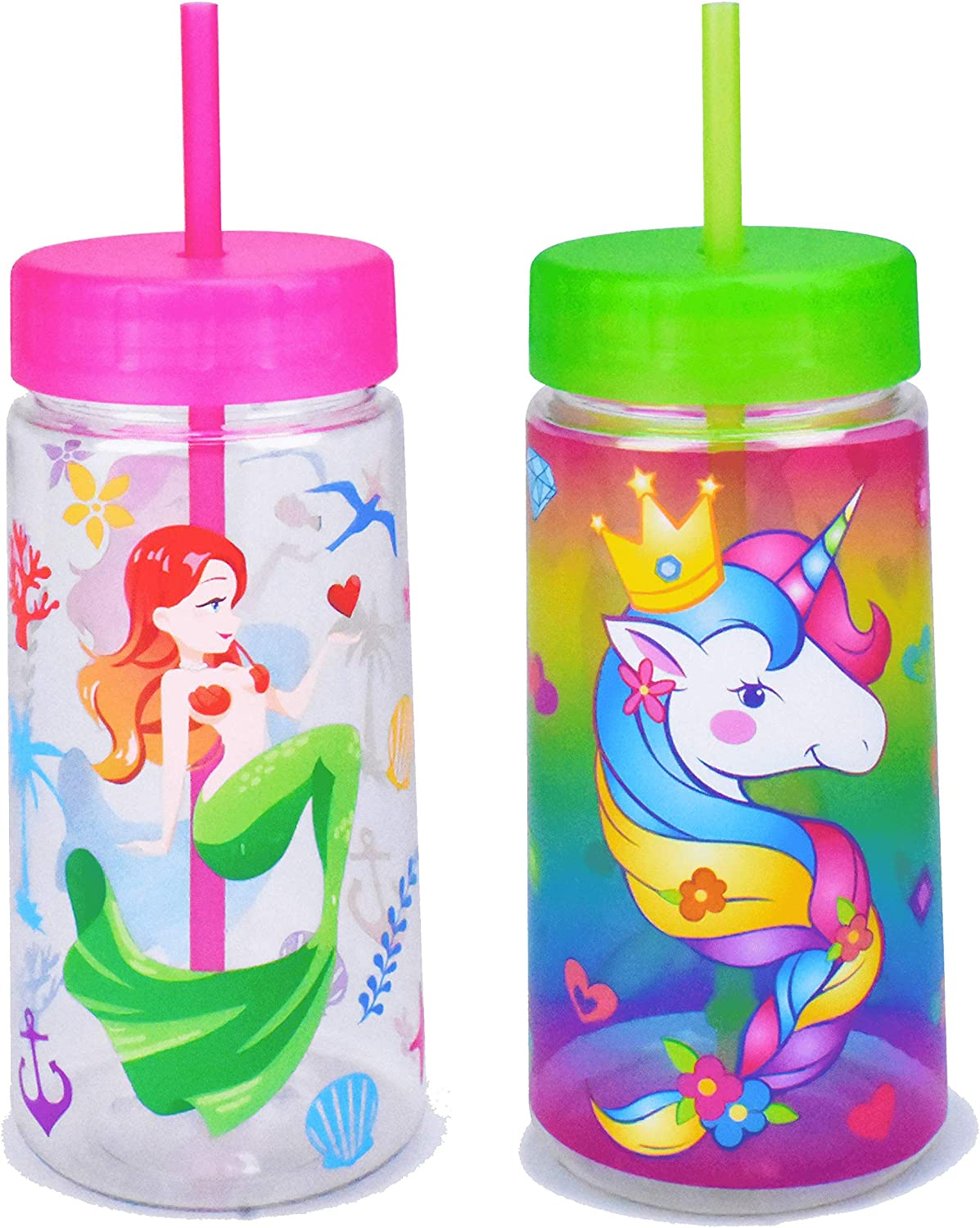 Home Tune 28oz Water Drinking Bottle - BPA Free, Wide Mouth, Travel Beverage Cup with Straw Lid, Lightweight, Water Bottle with Cute Foil Print Design for Girls & Boys - 2 Pack