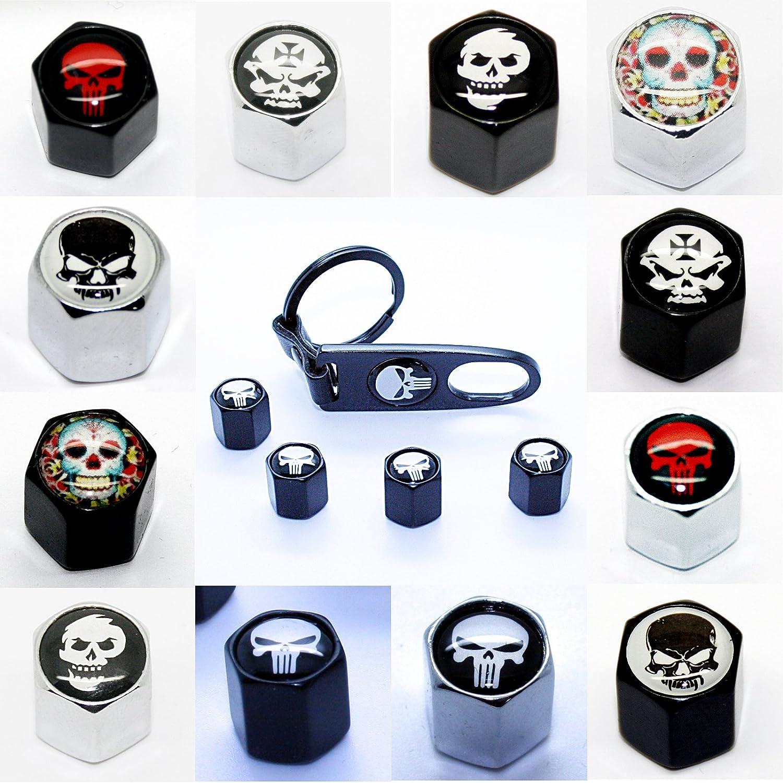 Totenkopf Black der Eiserne Schl/üsselanh/änger LED-Mafia 4 Ventilkappen Ventil Anh/änger Schl/üsselring Etui Schl/üssel Totenkopf Black Chrom