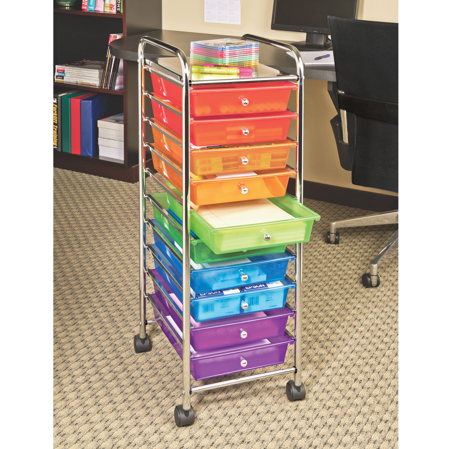 Classroom Organizer Cart With 10 Drawers Bins