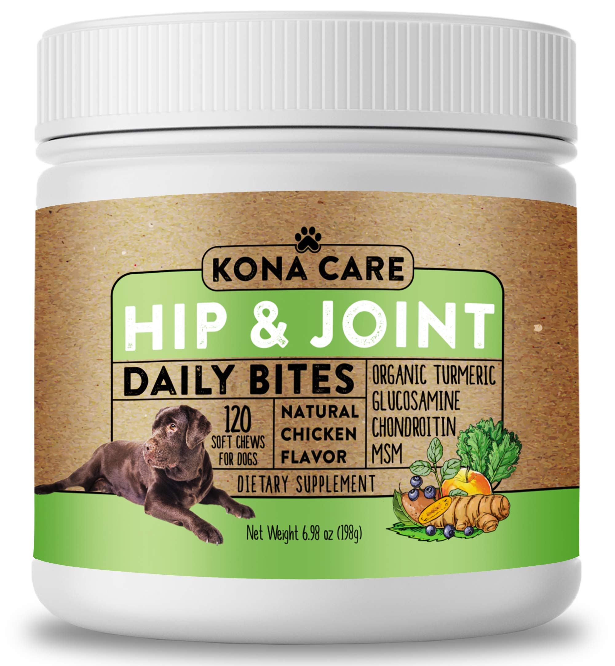 Hip & Joint Supplement for Dogs - Organic Turmeric, Glucosamine, Chondroitin, MSM - Made with All-Natural Ingredients - Supports Healthy Joints & Improves Mobility, Large & Small Dogs - 120 Soft Chews by Kona Care