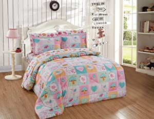 Better Home Style Multicolor Patchwork Pink Green Blue Owls Birds Floral Hearts Butterflies Fun Design 7 Piece Comforter Bedding Set for Girls/Kids Bed in a Bag with Sheet Set # Patchwork Owl (Full)