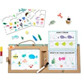 Melissa & Doug Natural Play: Play, Draw, Create Reusable Drawing & Magnet Kit – Ocean (42 Magnets, 5 Dry-Erase Markers)