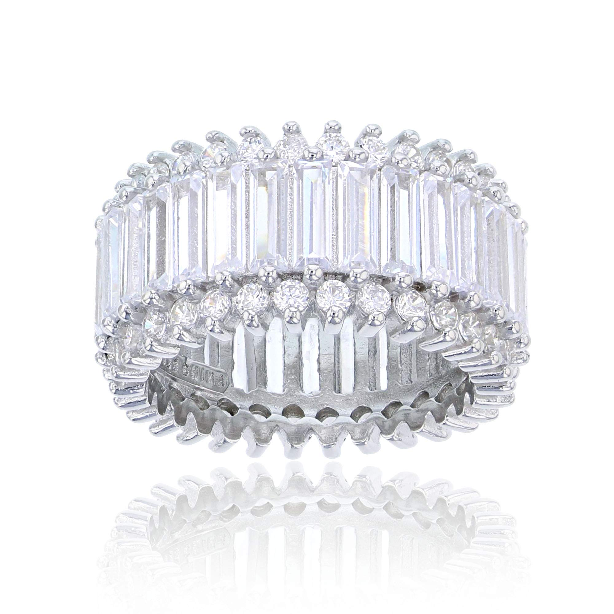 Sterling Silver Cubic Zirconia Round & Baguette Eternity Ring, Size 6